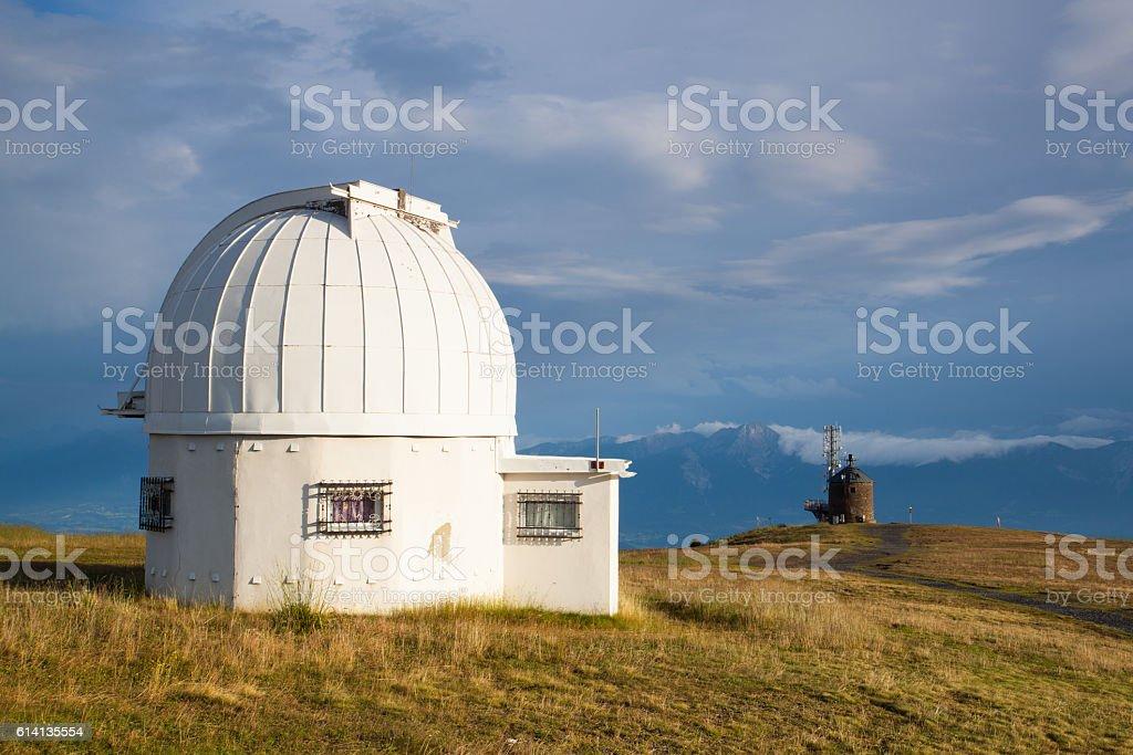 Observatory dome in the Gerlitzen Apls in Austria. stock photo