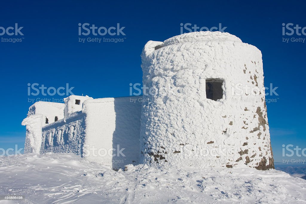 Observatory in Carpathion mountains stock photo