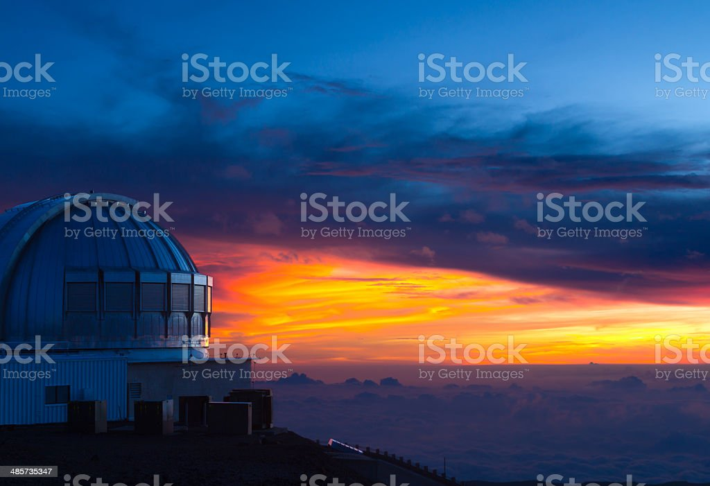 Observatory in Hawaii at sunset stock photo