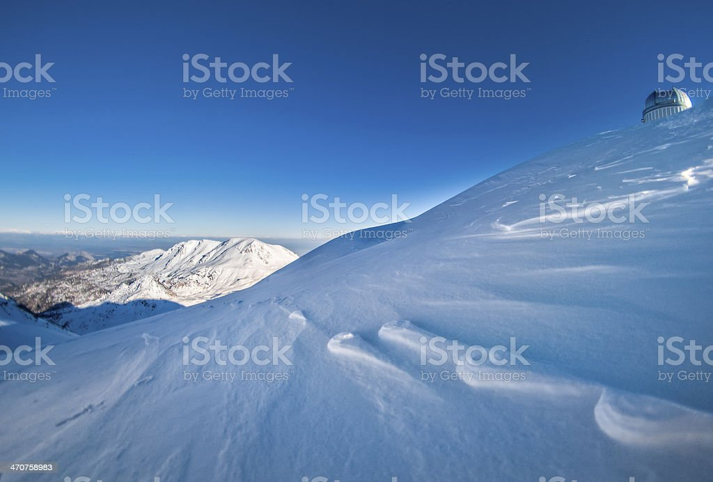 Observatory on top of snow royalty-free stock photo