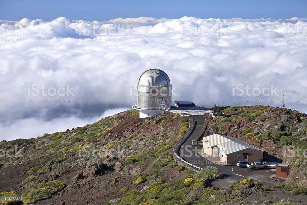 observatory over clouds stock photo