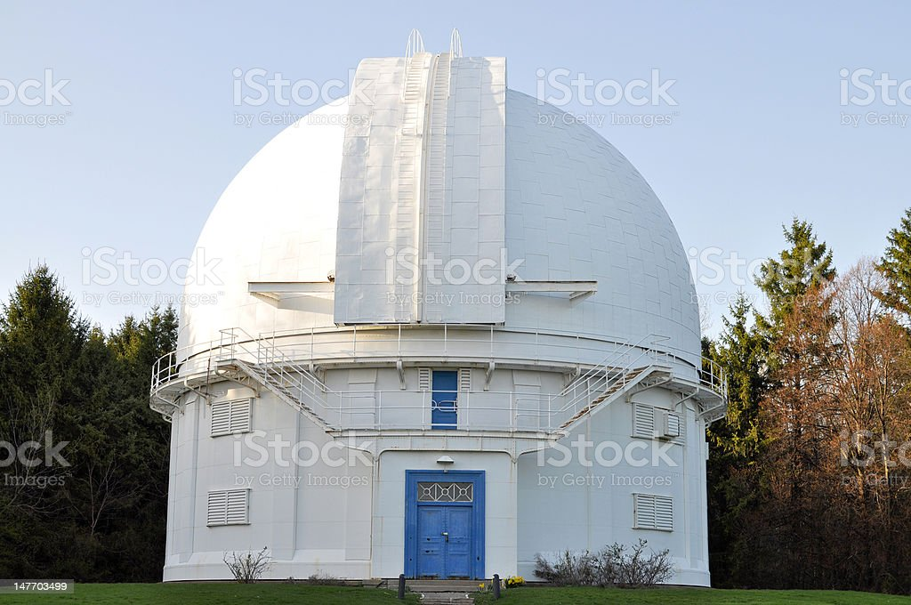 Observatory with a dome stock photo