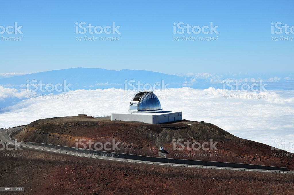 Observatory with Mauna Loa in Background stock photo