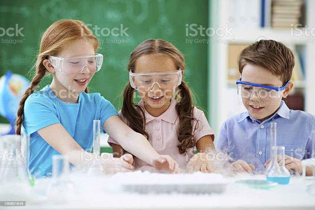Observing chemical reaction royalty-free stock photo