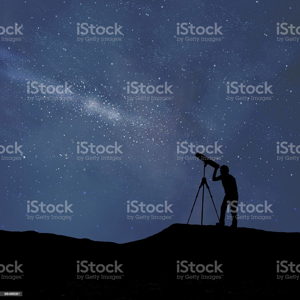 observing digitally stylised night sky through a telescope stock photo