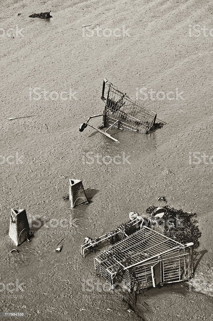 Obsolescence - abandoned shopping trolleys in the wet sand royalty-free stock photo