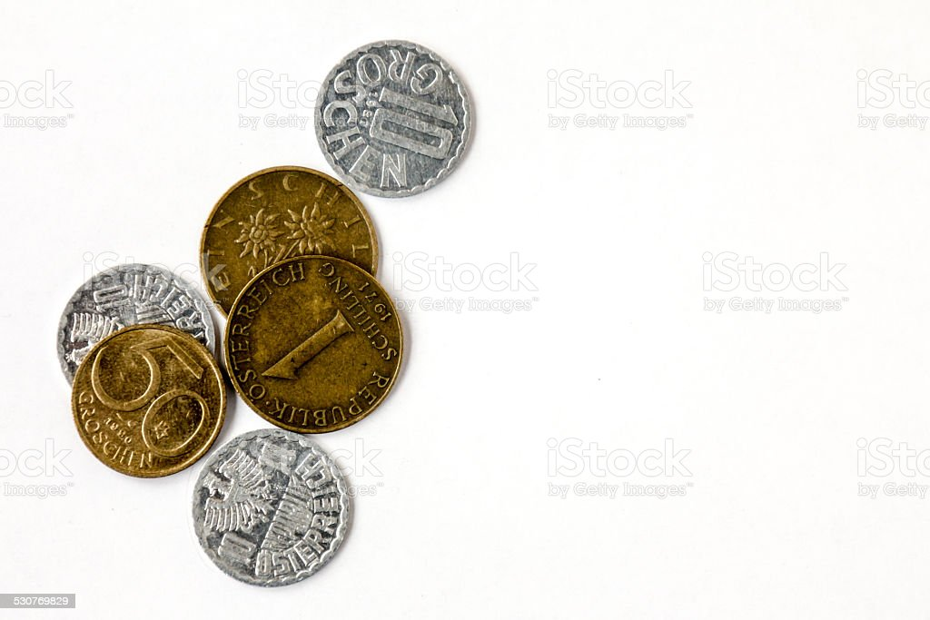 Obsolete Austrian Coins isolated on white stock photo