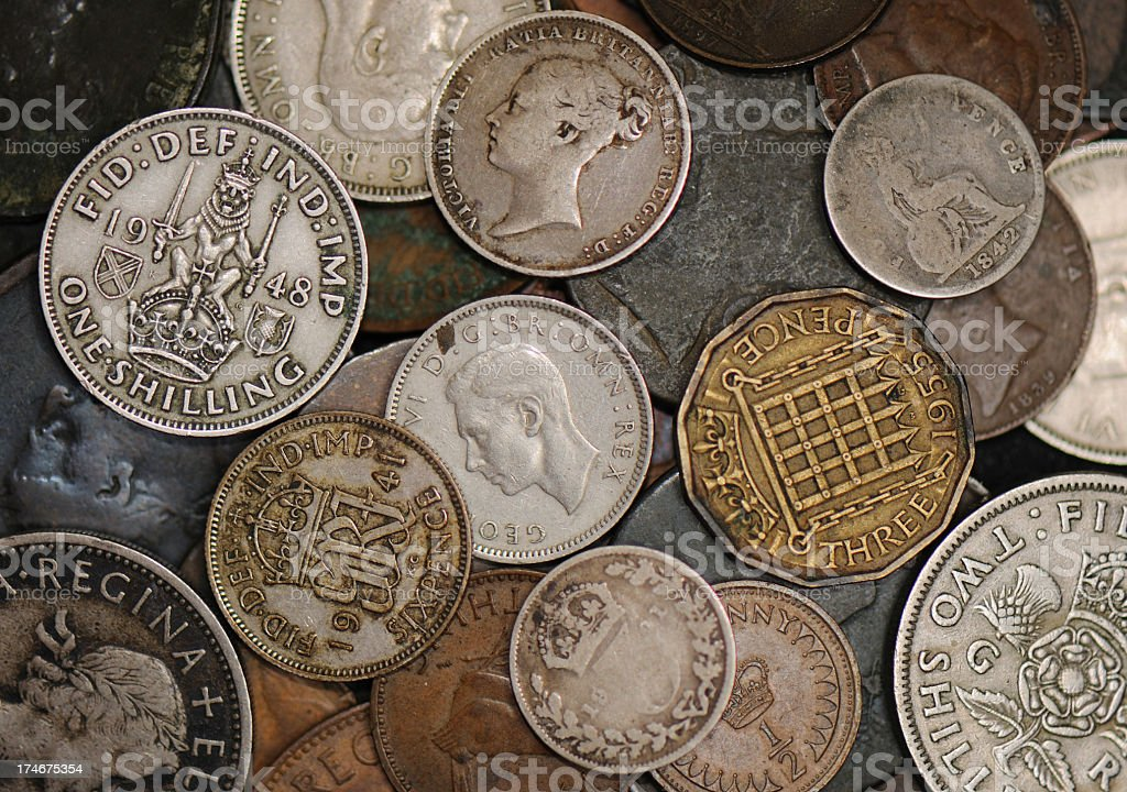 Obsolete British Coinage stock photo