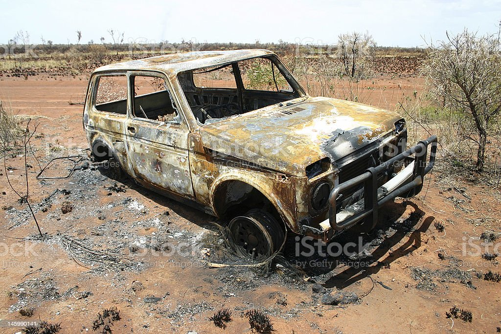 Obsolete burned car royalty-free stock photo