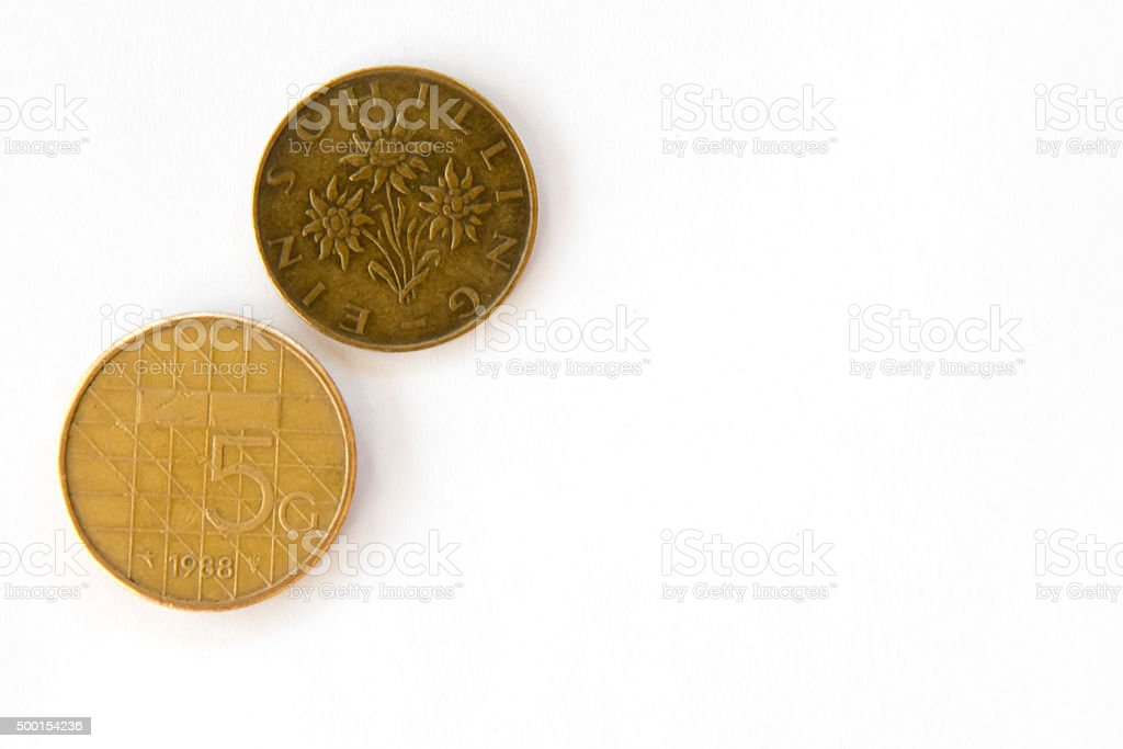 Obsolete coins from Netherlands and Austria stock photo