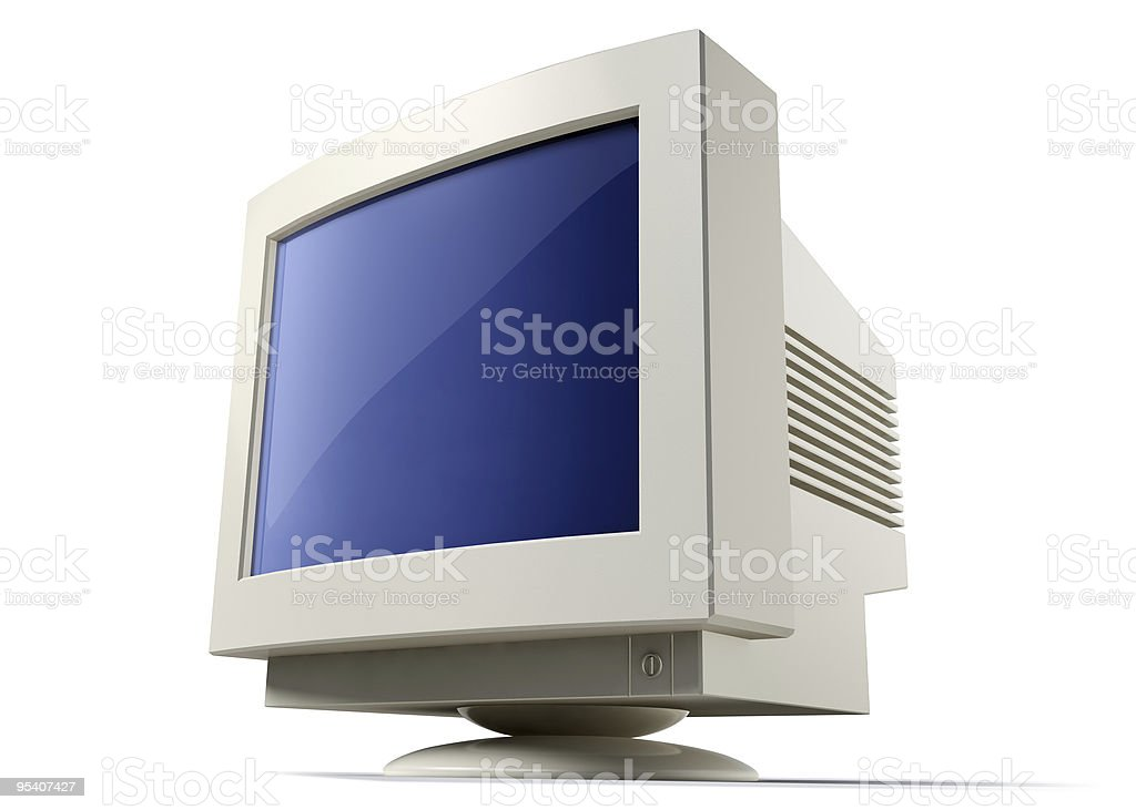 Obsolete computer display vector art illustration