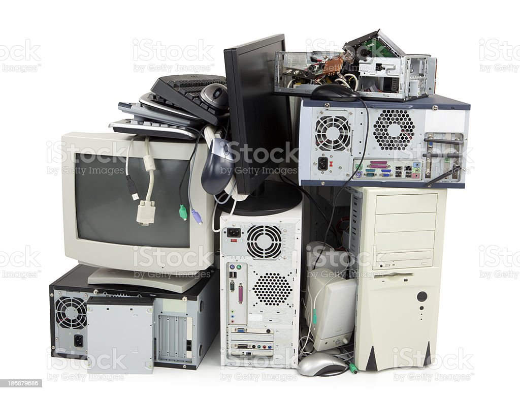 Obsolete computer electronics equipment for recycling stock photo