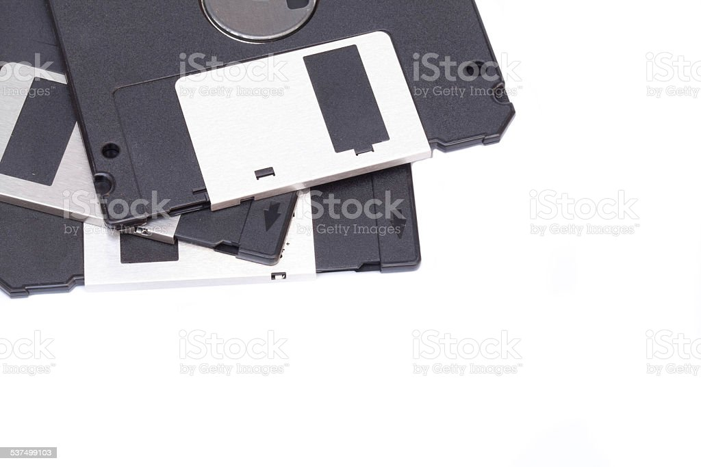 Obsolete diskette isolated on white blackground stock photo