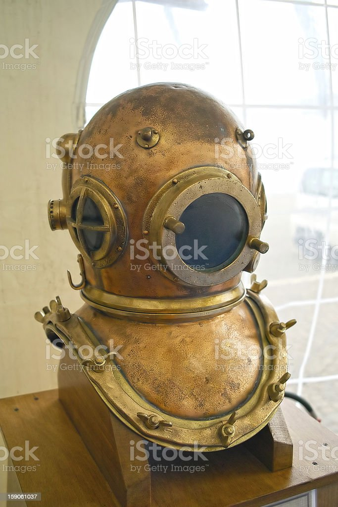 obsolete diving helmet royalty-free stock photo