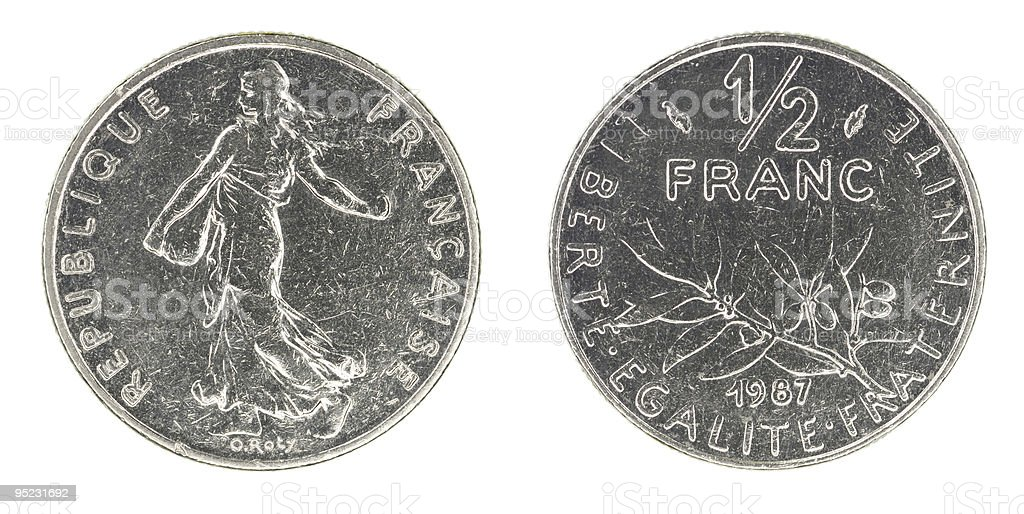 Obsolete half franc royalty-free stock photo
