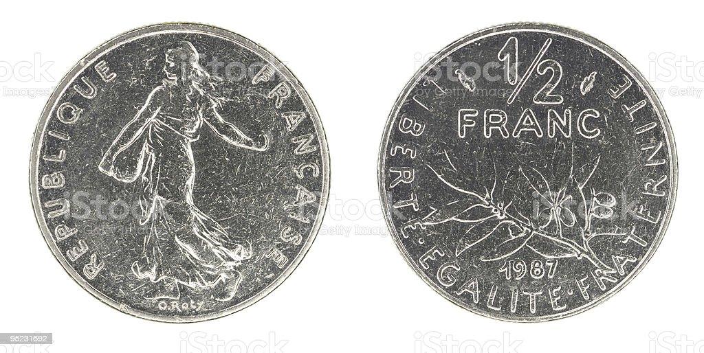 Obsolete half franc stock photo