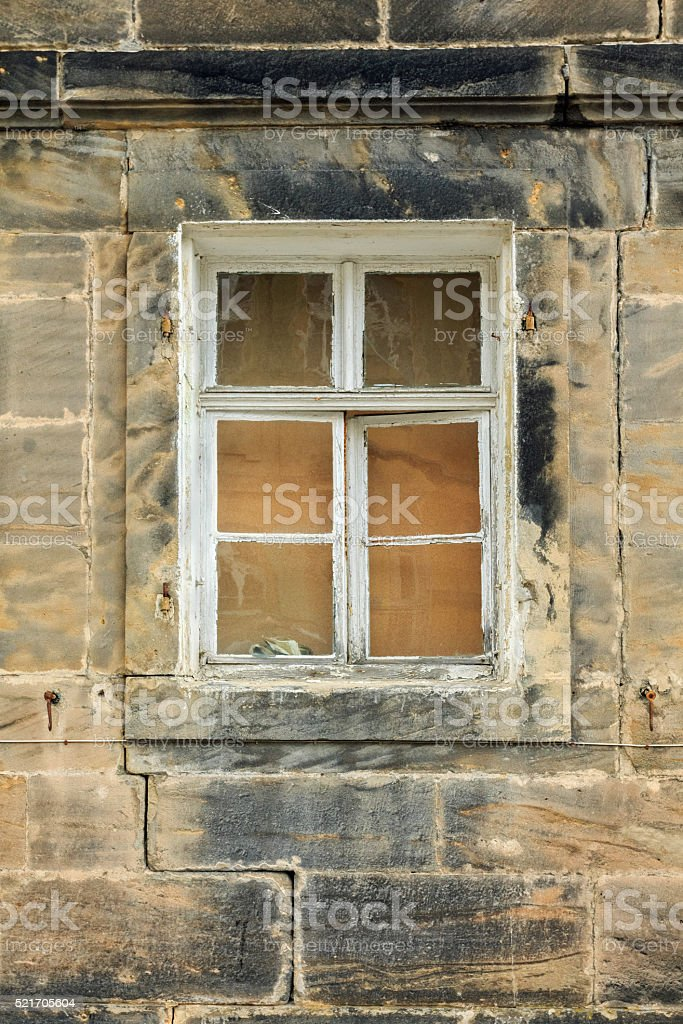 Obsolete old-fashioned window with sandstone wall in Upper Franconia stock photo