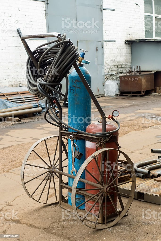 Obsolete oxygen cylinders stock photo