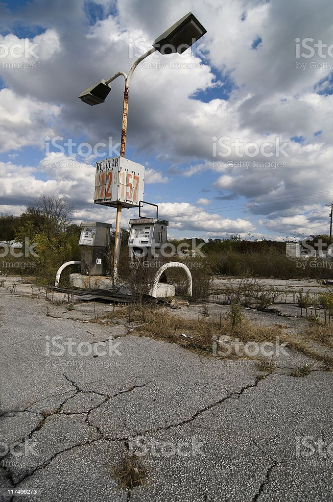 Obsolete Petrol Station, Outdated Prices royalty-free stock photo