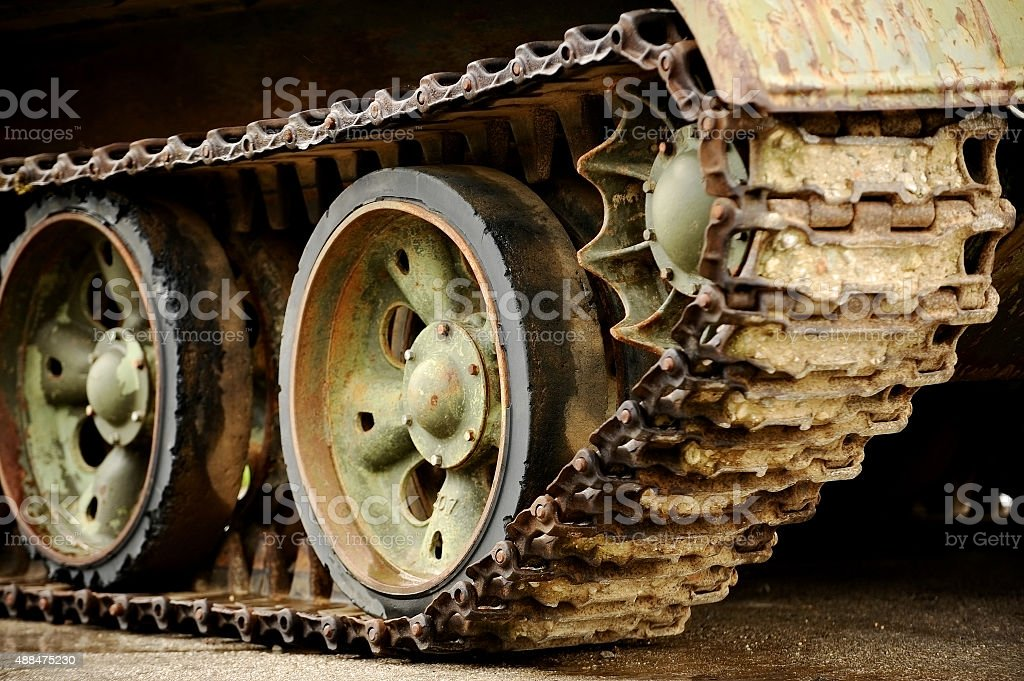 Obsolete tank tracks stock photo
