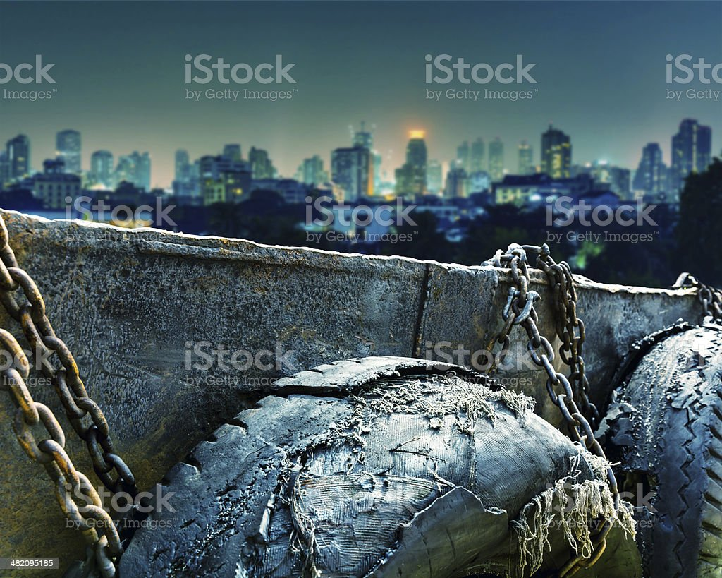 Obsolete tires in docks royalty-free stock photo