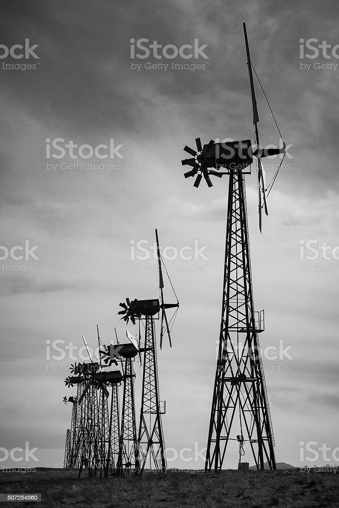 Obsolete Wind Turbines, Backlit stock photo