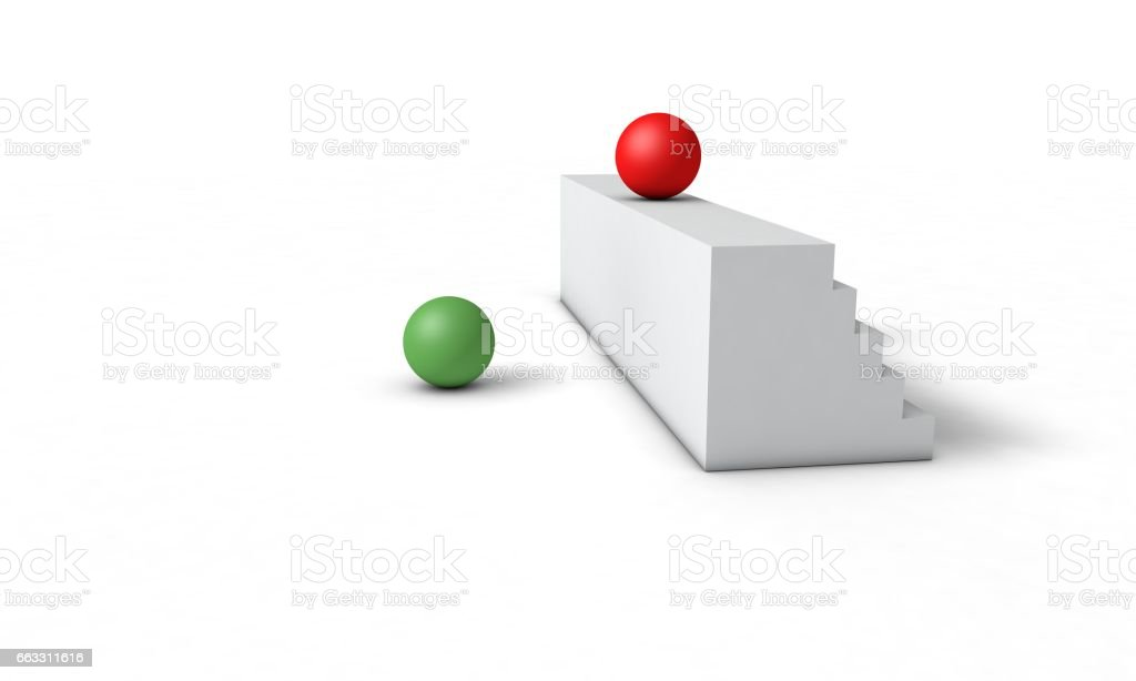 Obstacle and success concept, 3d render vector art illustration