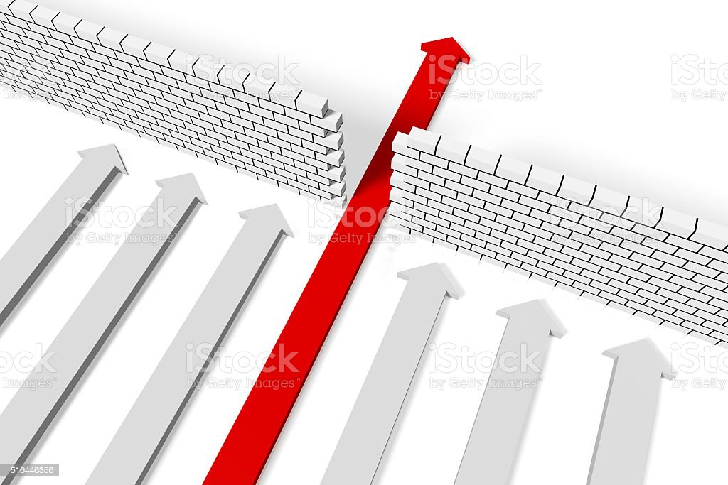 3D obstacle concept stock photo