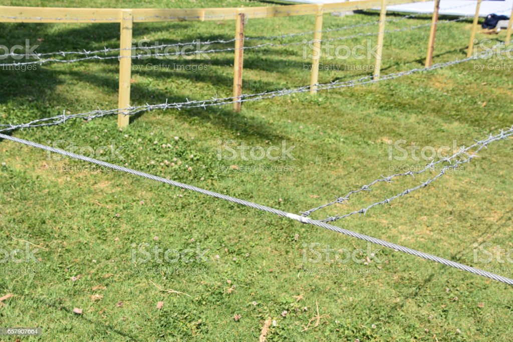 Obstacle course barbed wire stock photo
