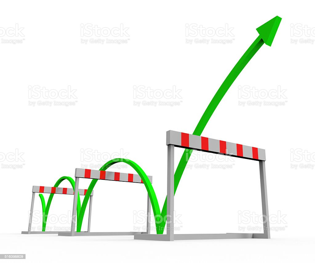 Obstacle Overcome Indicates Conquering Adversity And Challenge stock photo