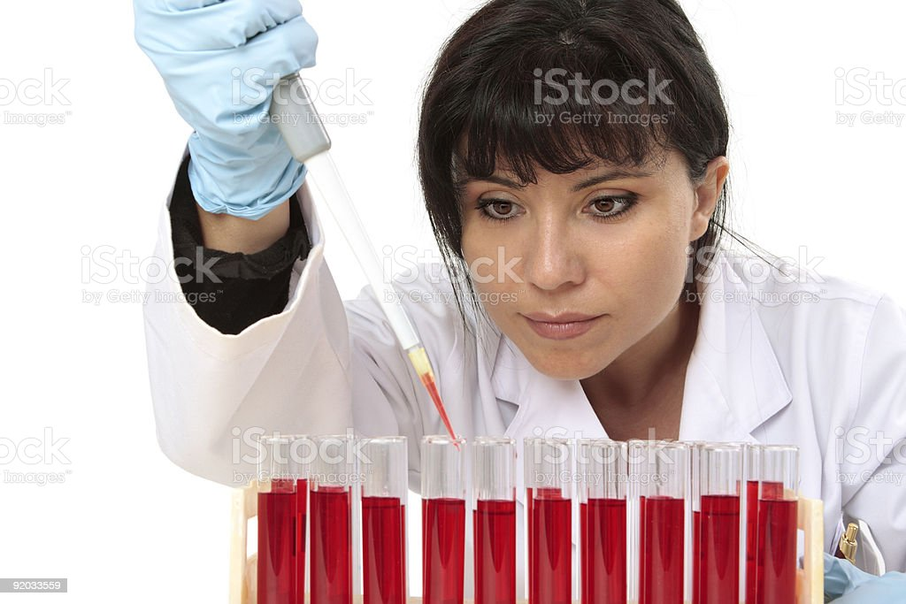 Obtaining sample from test tube stock photo