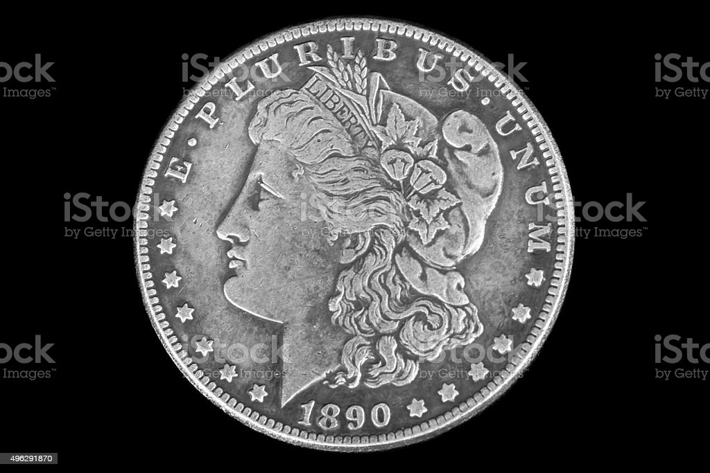 Obverse 1 US dollar in 1890 stock photo