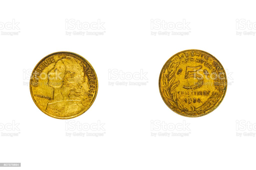 Obverse and reverse of the French coin in five centimes with the portrait of Marianne, isolated on white, top view, flat lay. stock photo