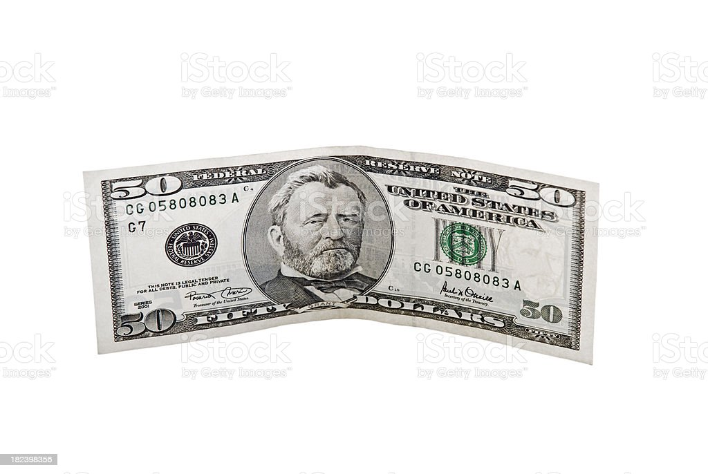 Obverse of Fifty Dollar Bill, Ulysses Grant, isolated on white royalty-free stock photo