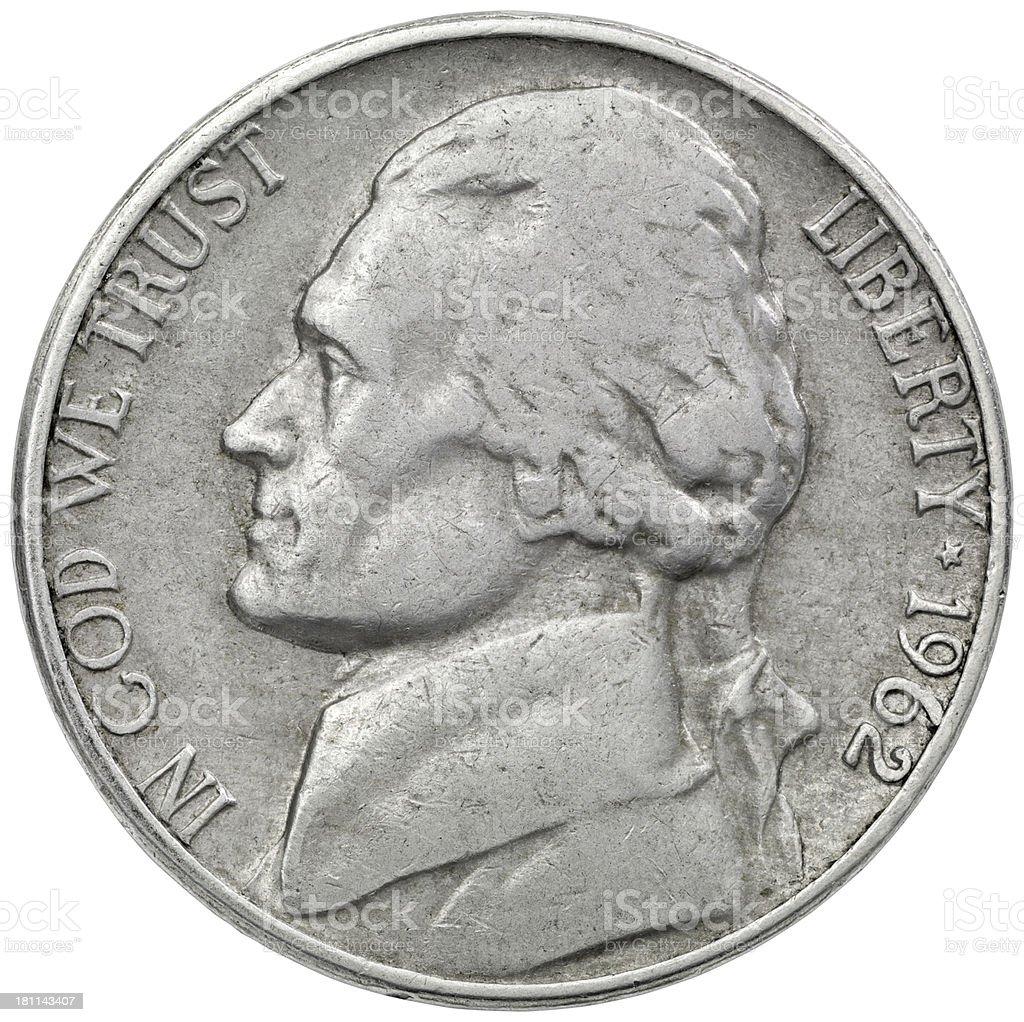 Obverse of the 1962 Jefferson Nickel stock photo