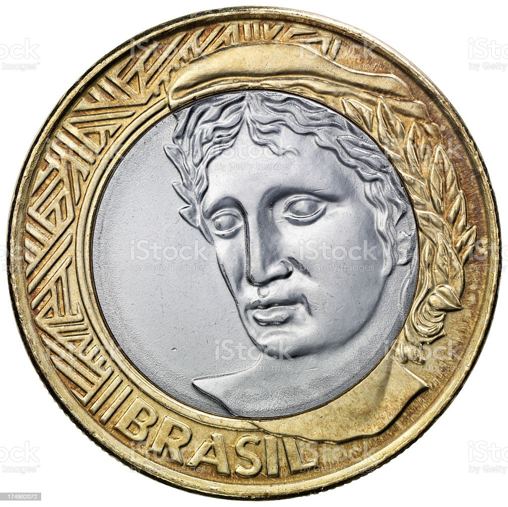 Obverse of the Brazilian one Real coin stock photo