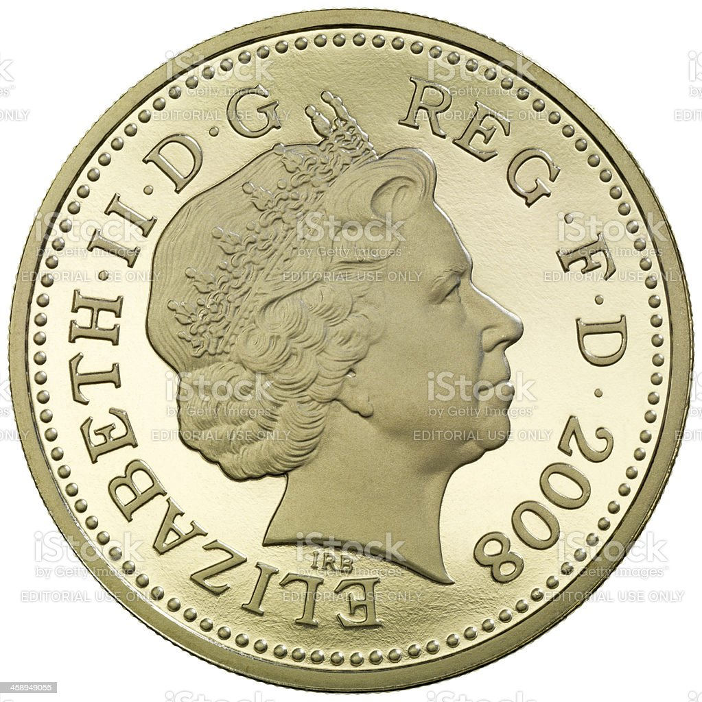 Obverse of the British One Pound coin stock photo