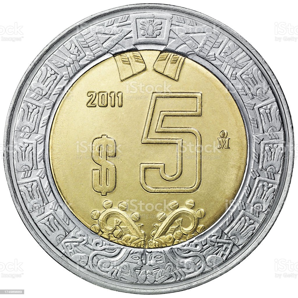 Obverse of the five mexican pesos coin royalty-free stock photo