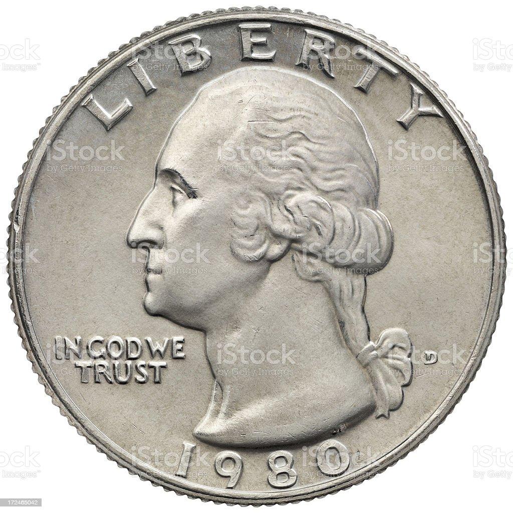 Obverse of the George Washington 1980 Quarter Dollar stock photo