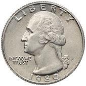 Obverse of the George Washington 1980 Quarter Dollar