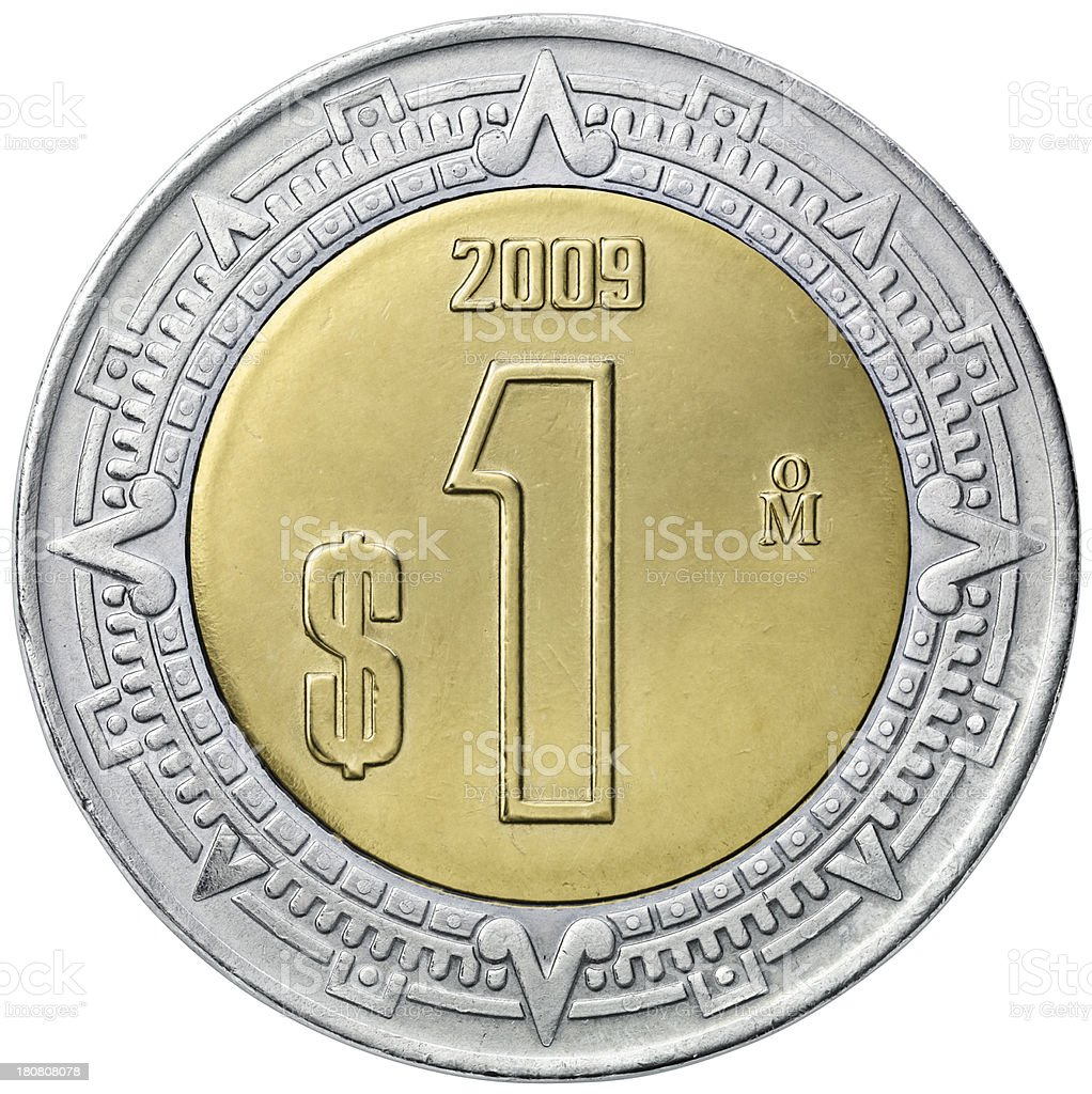 Obverse of the Mexican one peso coin stock photo