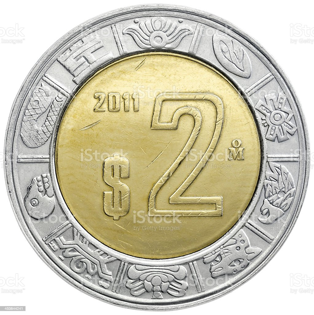 Obverse of the Mexican two pesos coin stock photo