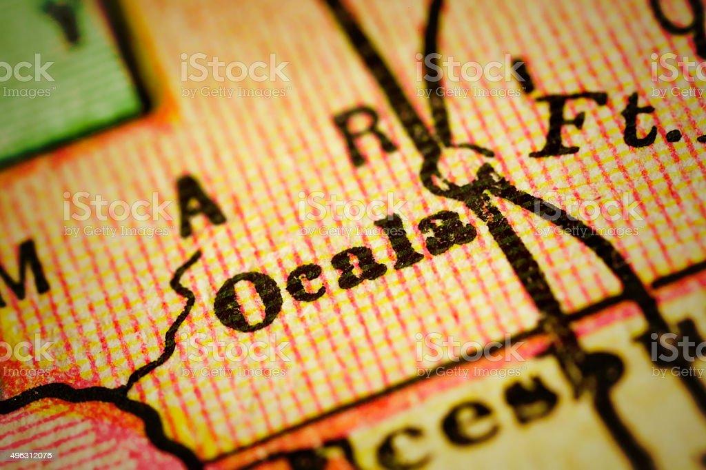 Ocala, Florida on an Antique map stock photo