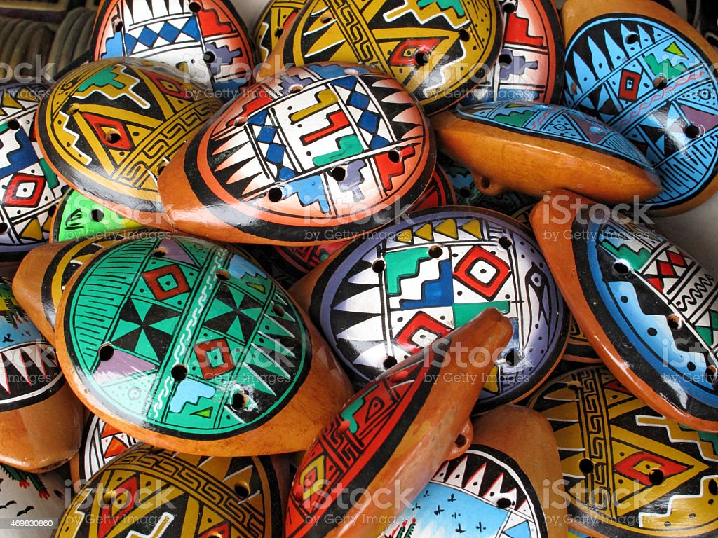 Ocarina. Aboriginal musical instrument made of clay stock photo