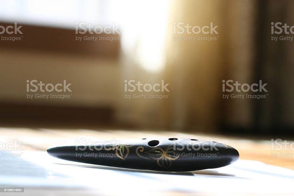 ocarina background stock photo