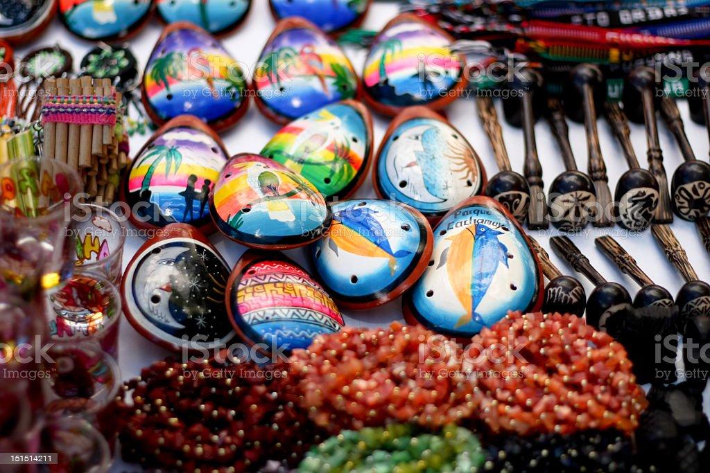 Ocarinas, pipas, collares de Venezuela stock photo
