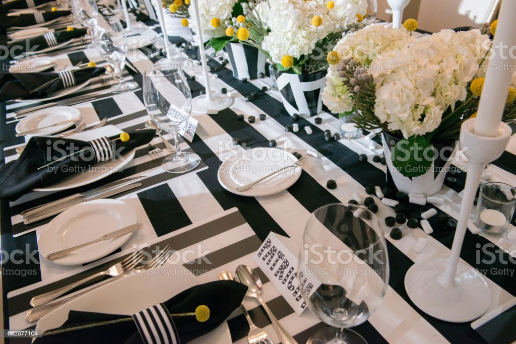 Occasions - Black and White 50th Birthday Party Table Setting stock photo