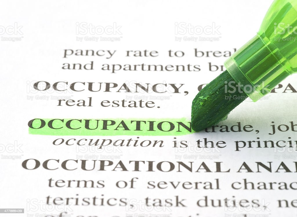 occupation definition highligted in dictionary stock photo