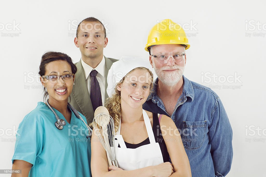 Occupation Group, Variety of Multi-Ethnic Diversity Workers and Professions royalty-free stock photo