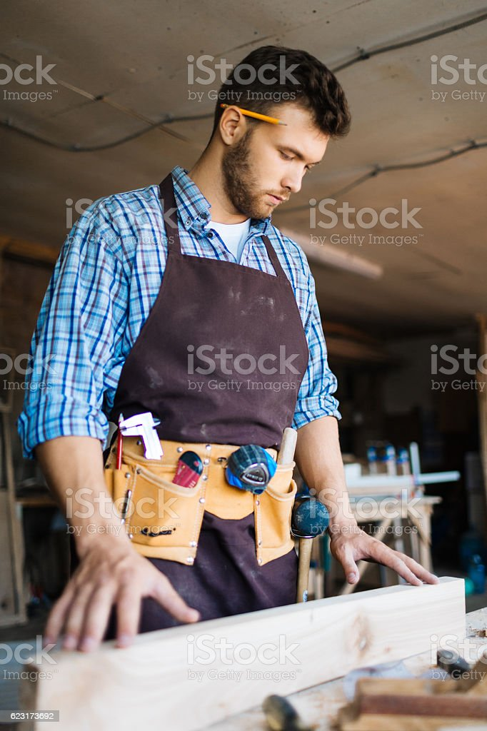 Occupation of carpenter stock photo